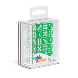 Oakie Doakie Green/White 12mm D6 Dice Block - Translucent
