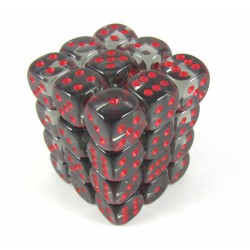 Chessex Smoke/Red 12mm D6 Dice Block - Translucent