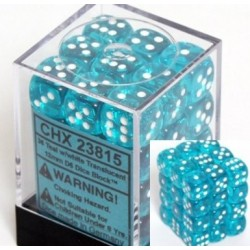 Chessex Teal/White 12mm D6 Dice Block - Translucent