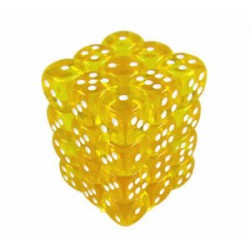 Chessex Yellow/White 12mm D6 Dice Block - Translucent