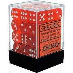 Chessex Orange/White 12mm D6 Dice Block - Translucent