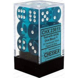 Chessex Teal/White 16mm D6 Dice Block - Translucent