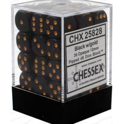 Chessex Black/Gold 12mm D6 Dice Block - Opaque