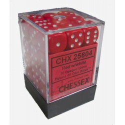 Chessex Red/White 12mm D6 Dice Block - Opaque