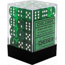 Chessex Green/White 12mm D6 Dice Block - Translucent
