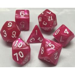 Pink/White Pearl Polyhedral 7-Die Set