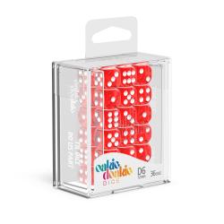 Oakie Doakie Red/White 12mm D6 Dice Block - Translucent