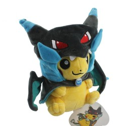 Pokédoll Pikachu Plushie [Mega Charizard X Cosplay] (23cm) (Closed Mouth)