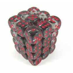 Chessex Smoke/Red 12mm D6 Dice Block - Translucent