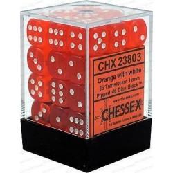 Chessex Orange/White 12mm D6 Dice Block - Translucent