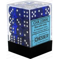 Chessex Blue/White 12mm D6 Dice Block - Translucent