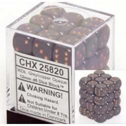 Chessex Dark Grey/Copper 12mm D6 Dice Block - Opaque