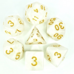 White/Gold Pearl Polyhedral 7-Die Set
