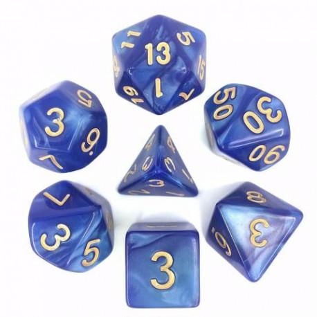 Blue/Gold Pearl Polyhedral 7-Die Set