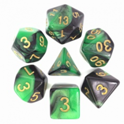 Green&Black/Gold Blend Polyhedral 7-Die Set