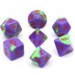 Purple&Green/Red Blend Polyhedral 7-Die Set