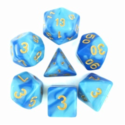 Sky Blue & Blue/Gold Blend Polyhedral 7-Die Set
