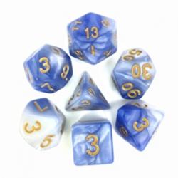 Light Blue & White/Gold Blend Polyhedral 7-Die Set