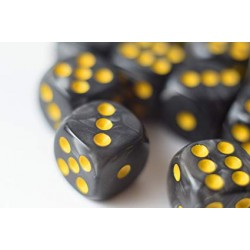 Black/Yellow Pearl 16mm D6 Pips Dice Set