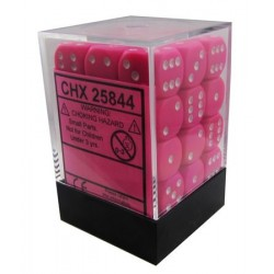 Chessex Pink/White 12mm D6 Dice Block - Opaque