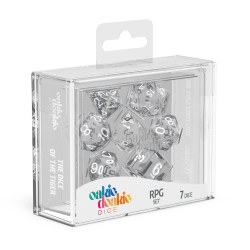 Oakie Doakie Clear/White Translucent Polyhedral 7-Die Set
