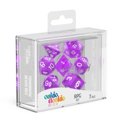 Oakie Doakie Purple/White Translucent Polyhedral 7-Die Set